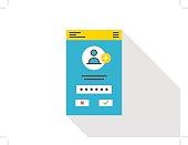 Login access mobile webpage vector illustration