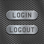 Login and Logout buttons on metal perforated background