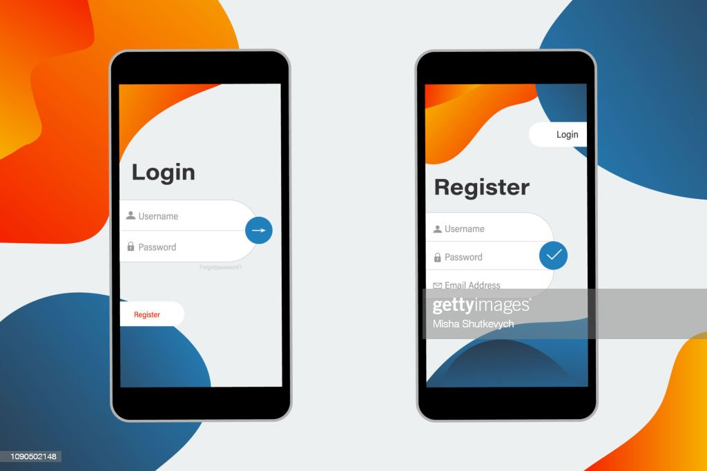 Login and Register on Screen. Log In and Sign Up UI UX on Smartphone Screen. Sign In Screen. Login Application with Password Form Window. Trendy Holographic Gradients Shapes. form page template on trendy gradient