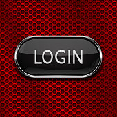 Login black button on red metal perforated background