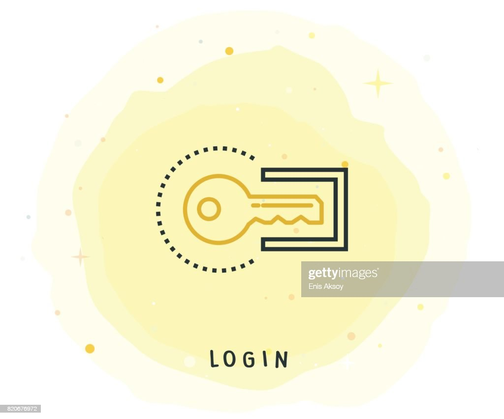 Login Icon with Watercolor Patch