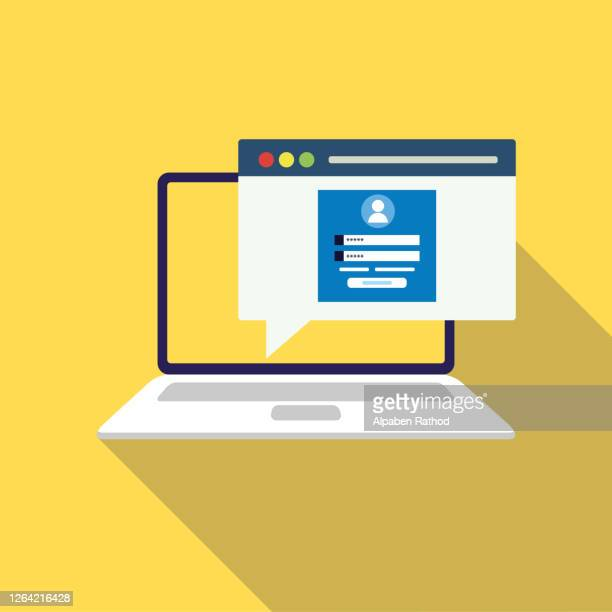 login page on laptop screen. notebook and online login form, sign in page. user profile, access to account concepts. vector illustration. stock illustration - voter registration stock illustrations