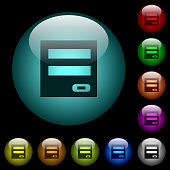 Login panel icons in color illuminated glass buttons