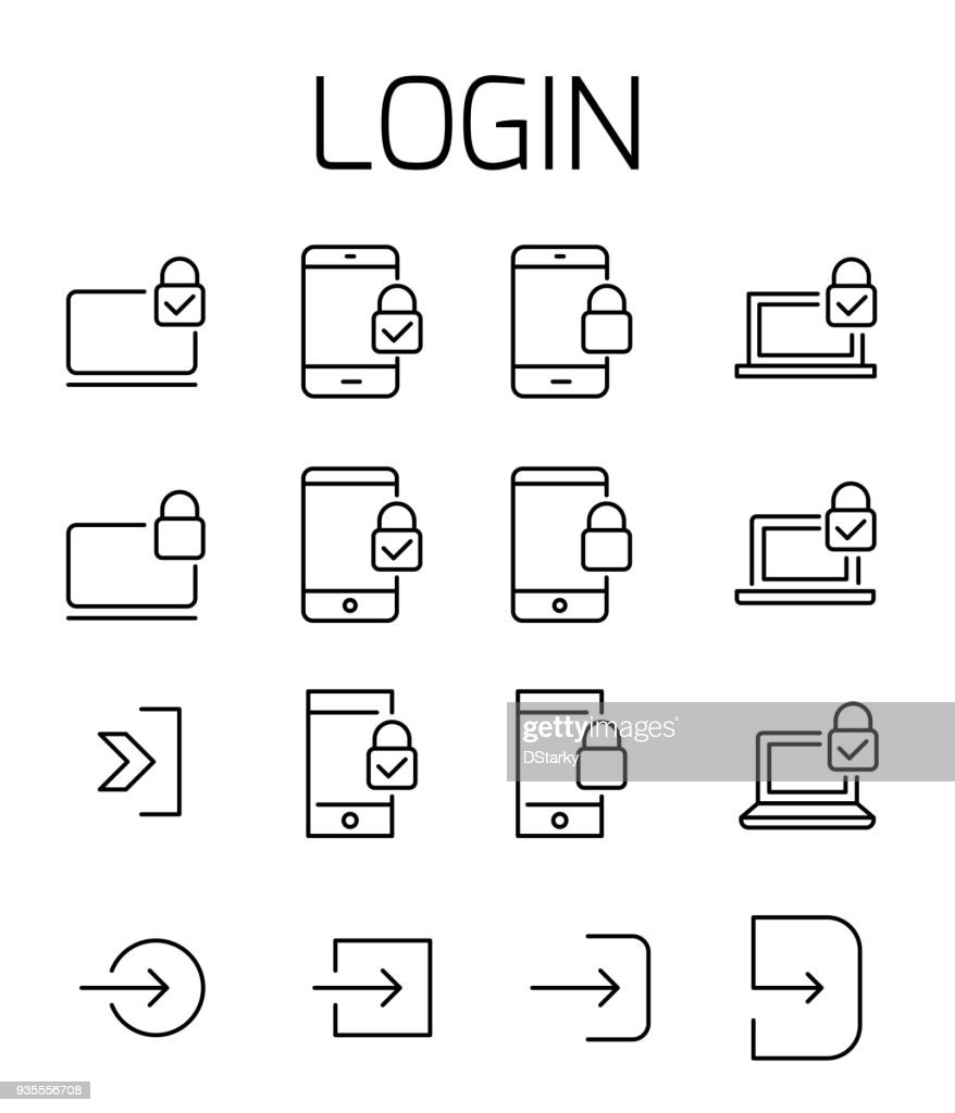 Login related vector icon set.