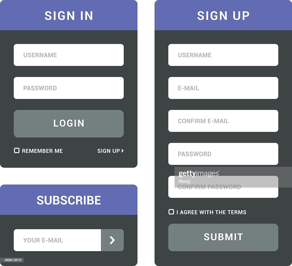 Login, Sign In and Subscribe Forms
