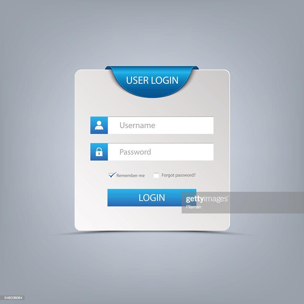 Login web screen with blue bookmark template