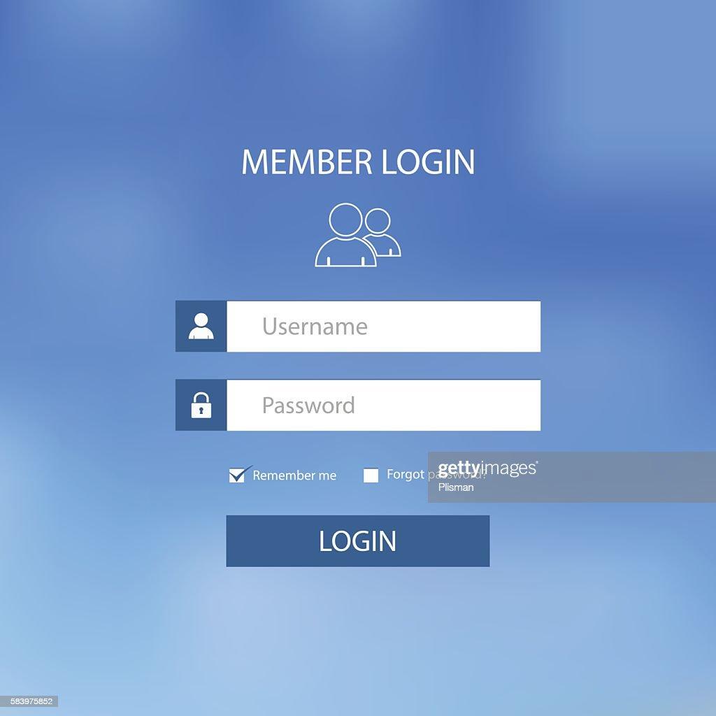 Login web screen with blue design template