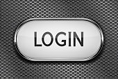 Login white button on metal perforated background