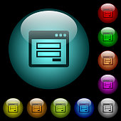 Login window icons in color illuminated glass buttons