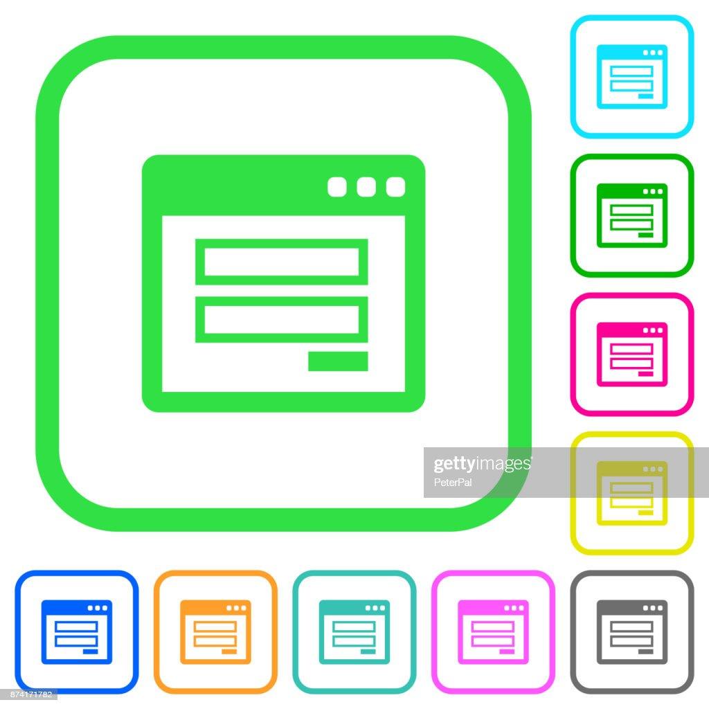 Login window vivid colored flat icons icons
