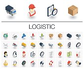 Logistic and distribution isometric icons. 3d vector