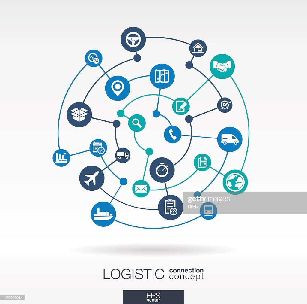 Logistic connection concept. Abstract delivery vector background: integrated circles, icons