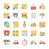 Logistic Delivery Flat Vector Icons Pack