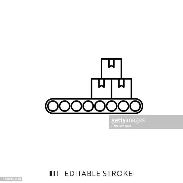 編集可能なストロークとピクセルパーフェクトを持つロジスティック配信アイコン。 - コンベヤーベルト点のイラスト素材/クリップアート素材/マンガ素材/アイコン素材