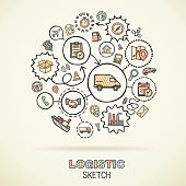 Logistic hand draw connected sketch icons. Vector doodle infographic illustration