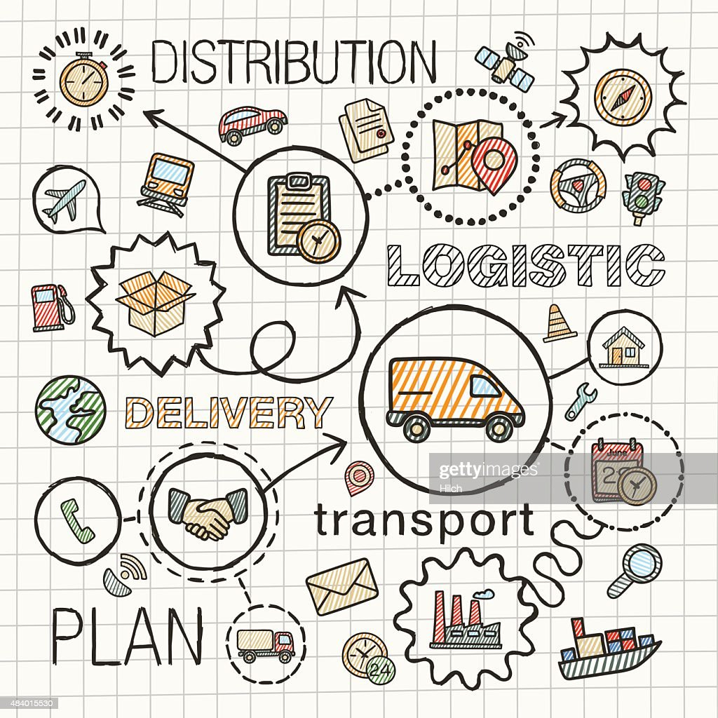 Logistic hand draw integrated color icons. Vector sketch infographic illustration