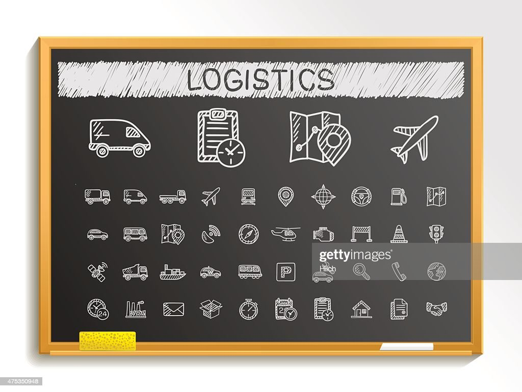 Logistic hand drawing sketch icons set. Vector doodle blackboard illustration