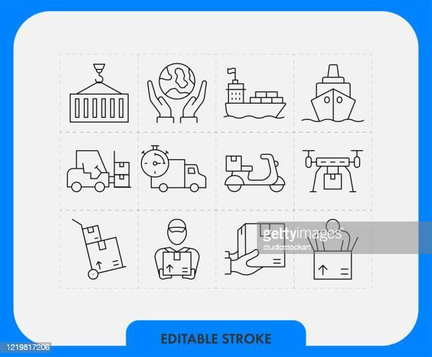 ロジスティックアイコンセット。編集可能ストローク - send点のイラスト素材/クリップアート素材/マンガ素材/アイコン素材