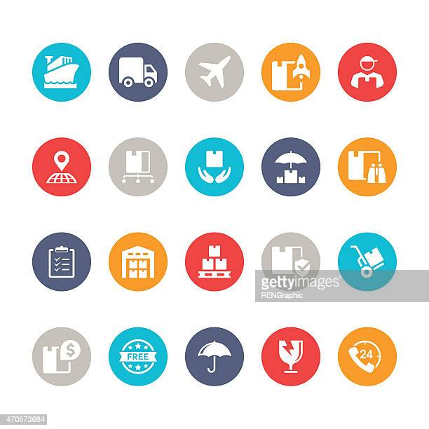 logistic icon set | multicolor circle series - occupational safety and health stock illustrations, clip art, cartoons, & icons