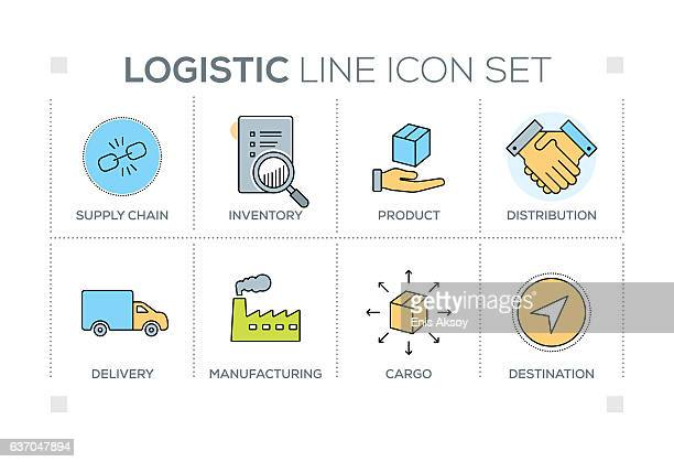 Logistic keywords with line icons