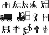 Logistic people pictograms