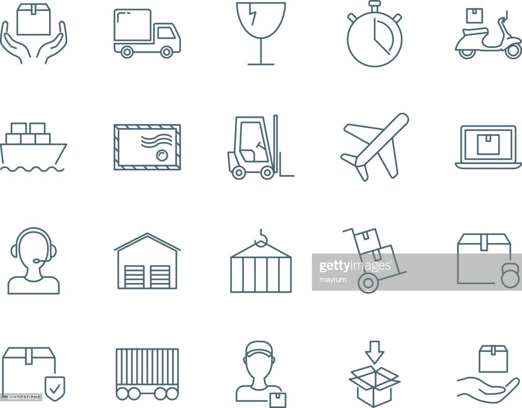 Logistics and cargo vector icons set