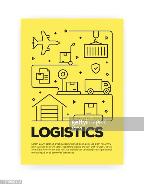 logistics and delivery concept line style cover design for annual report, flyer, brochure. - courier stock illustrations