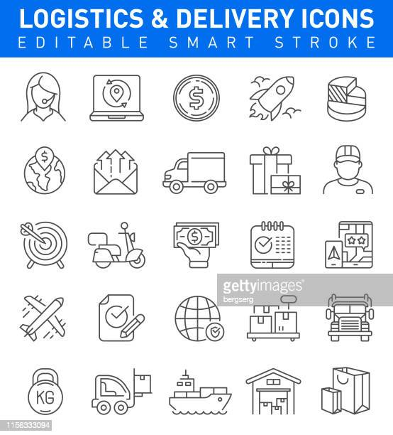 logistics and delivery icons. editable stroke - courier stock illustrations