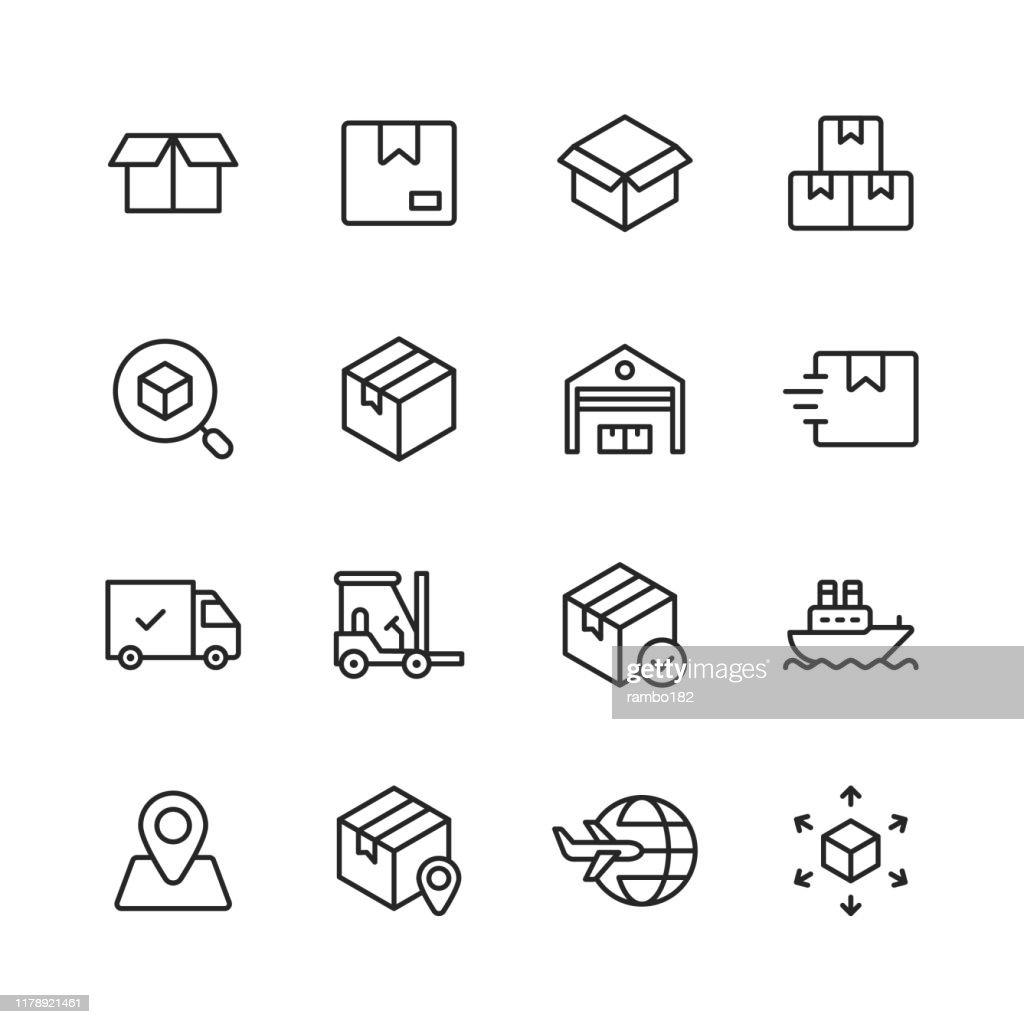 Logistik- und Lieferzeilensymbole. Bearbeitbarer Strich. Pixel perfekt. Für Mobile und Web. Enthält Symbole wie Lieferung, Versand, Box, Garage, Vertrieb, Yacht, Standortverfolgung, LKW. : Stock-Illustration