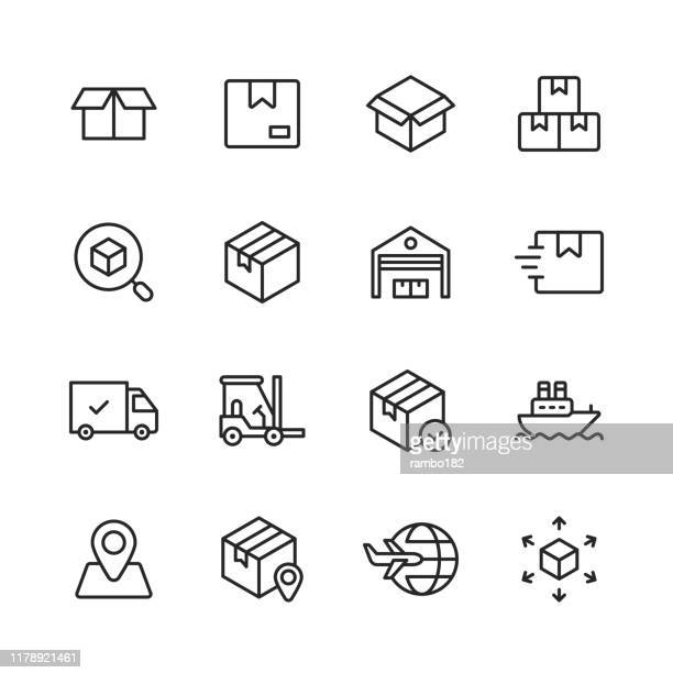 logistics and delivery line icons. editable stroke. pixel perfect. for mobile and web. contains such icons as delivery, shipping, box, garage, distribution, yacht, location tracking, truck. - packaging stock illustrations