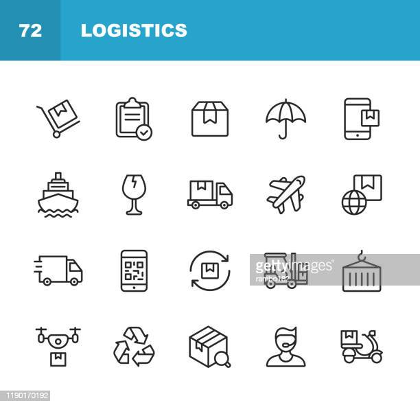 logistics and delivery line icons. editable stroke. pixel perfect. for mobile and web. contains such icons as shipping, delivery, box, insurance, ship, airplane, truck, bar code, recycling, support, drone, food delivery. - freight transportation stock illustrations