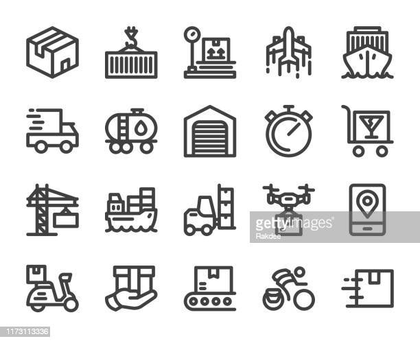 logistics and shipping - bold line icons - messenger bag stock illustrations, clip art, cartoons, & icons