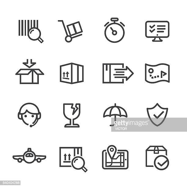 logistics and shipping icons set - line series - hand truck stock illustrations, clip art, cartoons, & icons