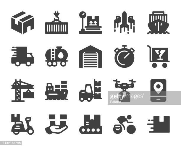 logistics and shipping - icons - messenger bag stock illustrations, clip art, cartoons, & icons