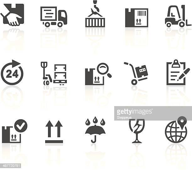 logistics and shipping icons - hand truck stock illustrations, clip art, cartoons, & icons