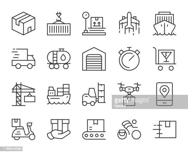 ロジスティクスと出荷 - ライトラインアイコン - 積み込む点のイラスト素材/クリップアート素材/マンガ素材/アイコン素材