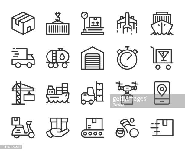logistics and shipping - line icons - messenger bag stock illustrations, clip art, cartoons, & icons
