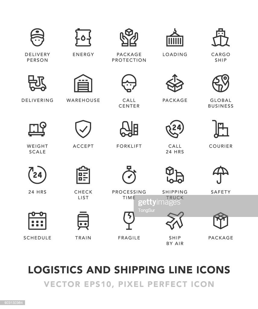 Logistics and Shipping Line Icons : stock illustration