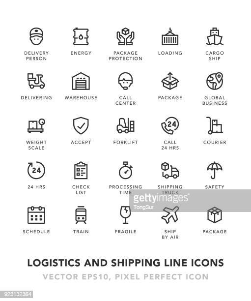 logistics and shipping line icons - receiving stock illustrations