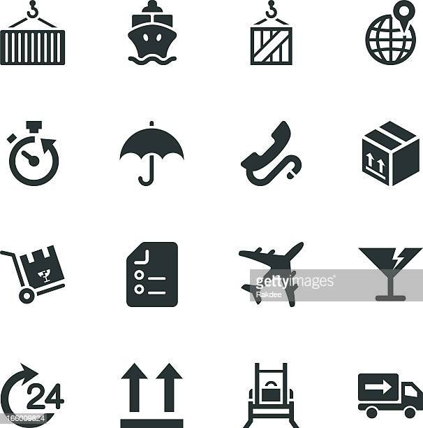 Logistics and Shipping Silhouette Icons