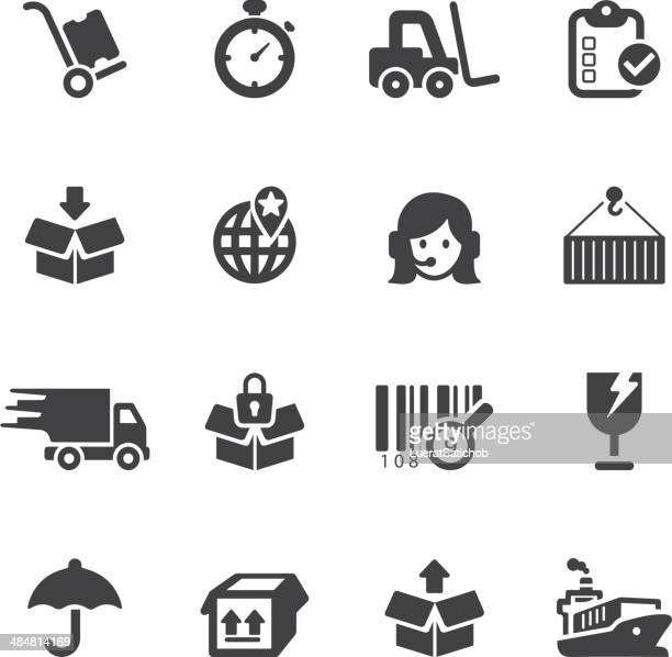 logistics and shipping silhouette icons - hand truck stock illustrations, clip art, cartoons, & icons