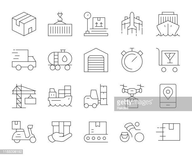 logistics and shipping - thin line icons - messenger bag stock illustrations, clip art, cartoons, & icons