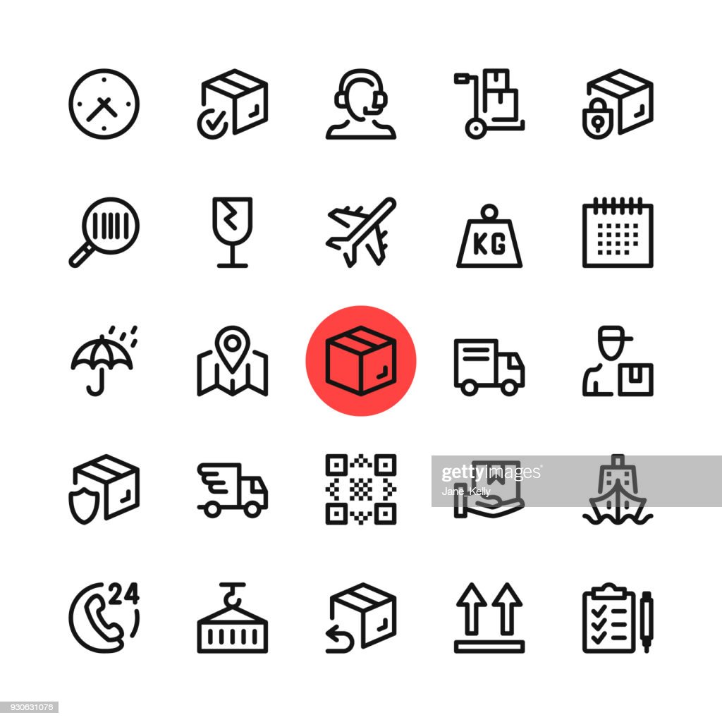 Logistics, delivery, shipping line icons set. Modern graphic design concepts, simple outline elements collection. 32x32 px. Pixel perfect. Vector line icons