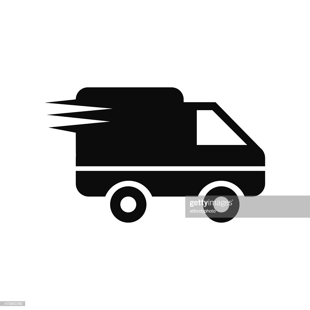 Logistics delivery truck in movement icon vector illustration ep