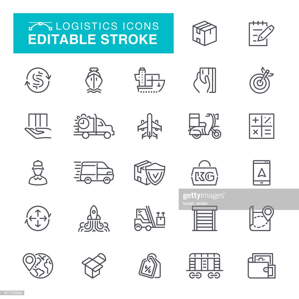Logistics Editable Stroke Icons : stock illustration