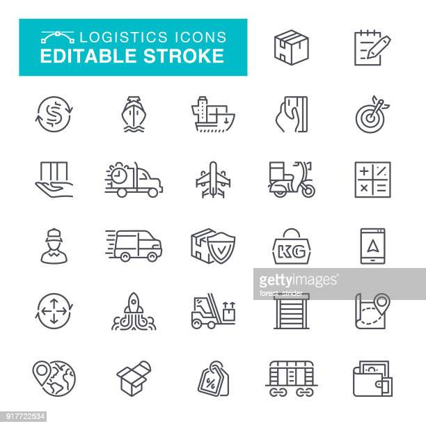 logistics editable stroke icons - shipping stock illustrations