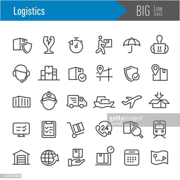 logistics icons - big line series - freight transportation stock illustrations