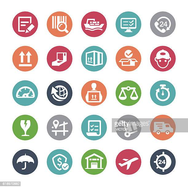 logistics icons - bijou series - occupational safety and health stock illustrations, clip art, cartoons, & icons