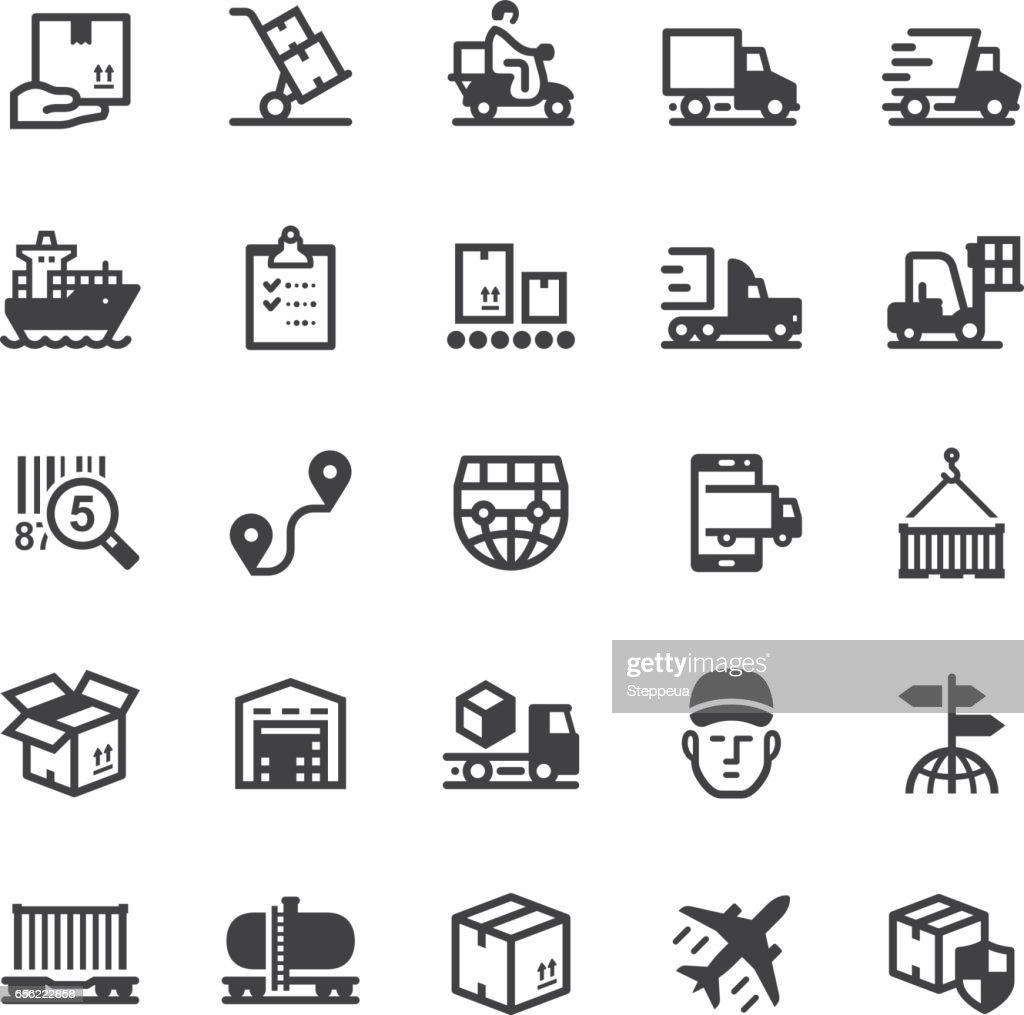 Logistics icons - Black series : stock illustration