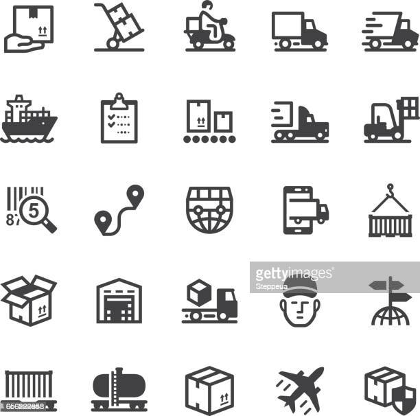 logistics icons - black series - shipping stock illustrations